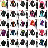 2019 New Women Bicycle Jersey Set Cycling Clothing Long Sleeve Team Bike Uniform