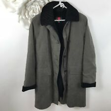 Women's Gallery Grey Suede Fur Lined Removable Long Winter Zip Coat Size XS