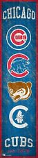 """Chicago Cubs Heritage Banner Retro Logo Wood Sign 6"""" x 24"""" Wall Decor Est 1876"""