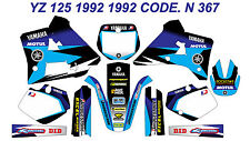 N 367 YAMAHA YZ 125 1991 1992 Autocollants Déco Graphics Stickers Decals Kits