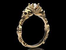 Certified 0.50ct Moissanite Gothic Skull & Bone Halo Engagement Ring 10kt Gold