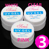 3 Pcs Clear Pink White Nail Art UV Gel Builder Tips Glue Extension Manicure
