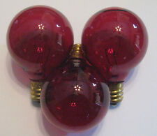 3 Transparent Red Marquee/Sign/Amusement Park/Party/Patio Light Bulbs E12 Base