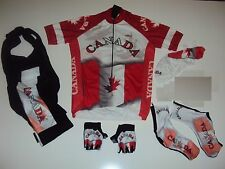 New size XL - CANADA Team Cycling Flag Road Bike Set Jersey Bib Shorts Gloves +