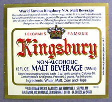 Heileman KINGSBURY NON ALCOHOLIC  MALT BEVERAGE paper version label  WI 12 oz