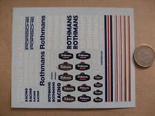 decals decalcomanie  rothmans  divers et mot majuscule porsche racing filet 1/43