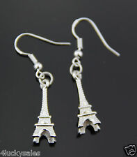 Hot 1 Pair Classical Retro Eiffel Tower Punk Silver Plated earring