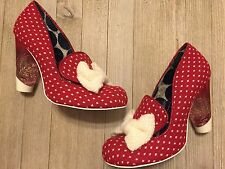 Irregular Choice Red White Polka Dot Knit Bow Clear Acrylic Pin Up Heels Sz 7.5