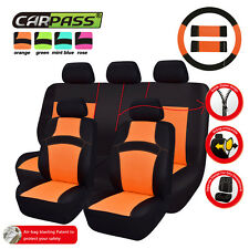 CAR PASS 100%Breathable warm winter orange color Universal Fit Car Seat Covers