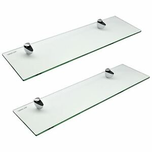 Glass Bathroom Shelf Shelves Floating Wall Mounted with Chrome Fittings 50cm x2