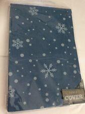 Blue CHRISTMAS  TABLE COVER FESTIVE CLOTH arctic blue white snowflakes 137 X 172