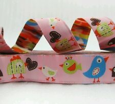"One Metre Pink Birds Jacquard Ribbon Trim  5/8"" 16mm 100% Polyester"