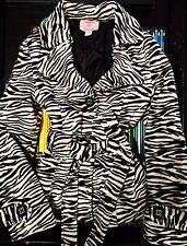 Copper Key Girls Zebra Animal Print Peacoat Sash Black White 10 12 Coat Jacket