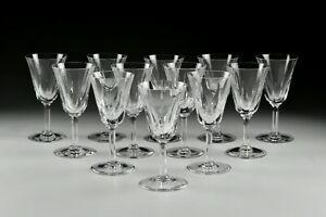 "12 St. Louis Cerdagne 6 3/8"" Burgundy Wine Stem Glasses French Cut Crystal"