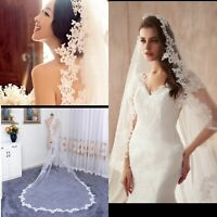 3 Metres White Ivory 1 Layer Cathedral Lace Edge Bridal Wedding Veil with Comb