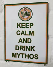 Keep Calm and Drink Mythos Retro metal Aluminium Sign greek greace larger beer