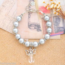 New 1PC Unisex Silver-grey String Beads Bracelet With Unique Angel Charm Pendant