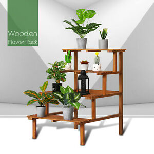 MONIBLOOM Wood 4 Tiers Flower Plant Rack Shelf Stand Step Outdoor Carbonized