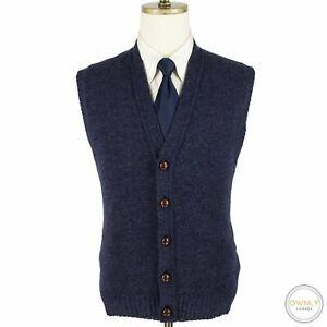 Weymouth Hunt Blue Shetland Wool Rib Knit Ireland Leather Btns Sweater Vest XL