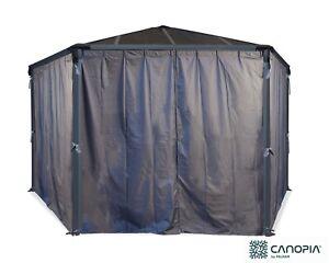 Palram - Canopia | Curtain Set for Monaco Hexagonal Gazebo Grey. Curtains Only.