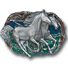 HORSES RUNNING WILD 3-D PEWTER BELT BUCKLE