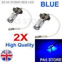 2x BLUE H3 5630 SMD 10 LED Bulbs - Canbus Blue Car Fog Light Lamp 12V Quality UK