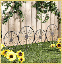 Metal Garden Wagon Wheel Fence Stake Trellis Vine Plants Outdoor Yard Art Decor