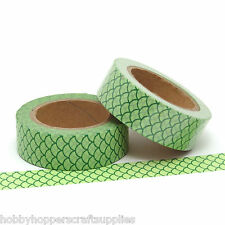 Washi Tape Green Mermaid Scales Scallop Pattern 15mm x 10m