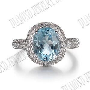 14K White Gold 10x8mm Oval 3.3ct Sky Blue Topaz Natural Diamonds Engagement Ring