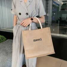 Large Casual Linen Letter Handbag Women Shopping Bag Beach Travel Shoulder Tote