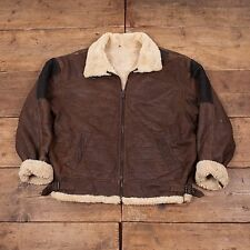 "Mens Vintage Sheepskin Shearling Leather B3 Jacket Brown XL 50"" R4556"