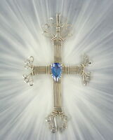 LARGE CROSS MYSTIC FIRE TOPAZ GEMSTONE STERLING SILVER  WIRE WRAPPED