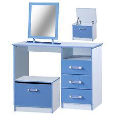 High Gloss Boys Blue 3 Drawer Desk + Mirror + Ottoman Storage Stool Toy box Set