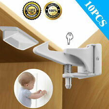 Cabinet Locks Child Safety Latches Baby Proof Lock Drawer Door 10 Pack White Usa