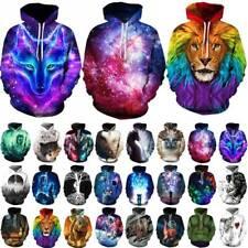 Women Men Galaxy 3D Wolf Hoodie Sweatshirt Pullover Halloween Fancy Tunic Tops