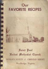 WOODBRIDGE VA ANTIQUE * ST PAUL METHODIST CHURCH COOK BOOK LOCAL ADS * VIRGINIA