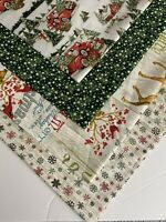 "Bundle Of 4 HOLIDAY ""OUTDOOR CHRISTMAS"" New 100% Cotton Fabric  Quarters"
