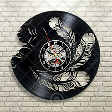 Feather Bird Nature Office Home Vinyl Wall Clock 12inch(30cm), Black Art Decor