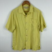 Tommy Bahama Silk Shirt Mens Small Yellow Button Up Short Sleeve Collared