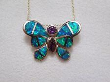 .925 Sterling Silver Butterfly Slide Pendant w/ Opal Inlay and Amethyst CZ