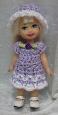 "KELLY & Cherry Merry Muffin 6"" Doll Clothes #01 Handmade Crochet Dress & Hat"