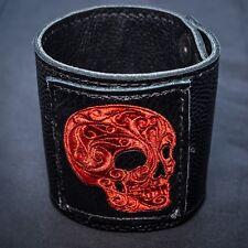 Totenkopf Leder Armband Manschette Band Biker Gothic keltisch Wikinger Mjolnir feeanddave