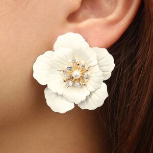 Fashion Boho Big Flower Ear Stud Earrings Women Acrylic Pearl Jewelry Gifts NEW