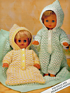 "Knitting Pattern DK Baby Dolls Clothes  12-16-20"" Sleeping Bag & Sleep Suit"