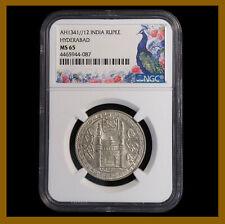 Indian Hyderabad (1923) AH 1341//12 Rupee NGC MS 65 Mir Usman Ali Kahn Silver
