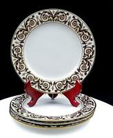 """ROYAL GALLERY MACY'S STORE 4 PC GOLD BUFFET ACCENT 8 1/4"""" LUNCHEON PLATES 1991"""