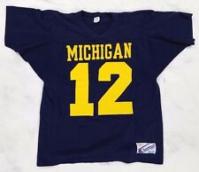Vtg 80s Champion Michigan Wolverines Football Jersey #12 Elvis Grbac, Mens Large