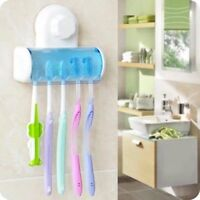 5 in 1 White Bathroom Decor Stong Vaccum Suction Wall Toothbrush Holder
