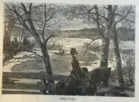 1880 Hudson River Marlborough Landing Sturgeon Fishing illustrated