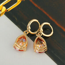 Vintage Womens champagne crystal statement Dangle Drop earrings 18K Gold Plated